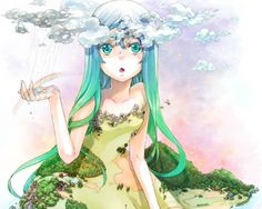 cool clouds dress long hair aqua eyes anime girls bare shoulders personification