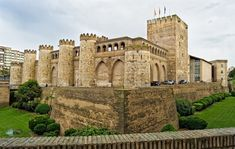 The Aljafería Palace in Zaragoza the royal residence of the Banū Hūd dynasty during the c. Spain And Portugal, Castle Ruins, Castle House, Portugal Tourism, Places To Travel, Places To Go, Places In Spain, Old Fort, Temples