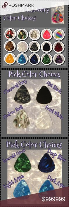 (1) Guitar Pick Earrings & Pendants Color Choices PART 1: All guitar pick jewelry can be made from any of the colors shown above using any of the charms you see in my other listings. More charms are coming soon so if you have a particular theme in mind, just ask! Comment here for custom requests. See PART 2 for more color close-ups.  Jewelry items are priced firm as a single purchase due to material cost & PM fees.   Bundle special on guitar pick /choker/charm jewelry ONLY: Any 2 items for…