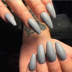 Tag your friends if you  Grey matte coffin nails.  by thenailbarsydney http://ift.tt/1NRMbNv