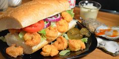 Shrimp Po' Boy sandwich recipe, as seen on Taste of Southern. Seafood Dishes, Fish And Seafood, Shrimp Recipes, Fish Recipes, Po Boy Sandwich, Shrimp Sandwich, Sandwich Ideas, Shrimp Po Boy, Recipes