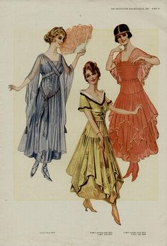 """Amanda's dress for Act II, flowy yet """"old fashioned"""" for 1937 - 1916 vintage dresses illustration  1910s fashion"""