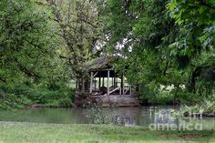 The old power house of a watermill, obviously missing the wheel. Located at the confluence of Roaring River into Crabtree Creek, at Larwood Park, Oregon. Water Mill, Oregon, Digital Art, Old Things, Wall Art, Park, House Styles, Prints, Artwork
