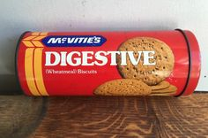 Old Vintage McVities Digestive Biscuit Tin - British Retro Cylinder in…