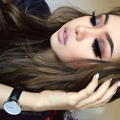 Glam make-up inspiration, love this style Cute Makeup, Gorgeous Makeup, Pretty Makeup, Classy Makeup, Makeup Goals, Makeup Tips, Beauty Makeup, Makeup Tutorials, Glam Makeup