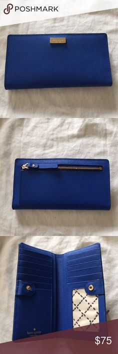 "KATE SPADE WALLET LIKE NEW KATE SPADE WALLET! USED only a few times.  Size 3.5"" x 6.5"" x 1"" Description:  4 long slip pocket where the dollars can lay flat. 12 credit card slip pockets and one clear window ID pocket. one zipper pocket in the back! kate spade Bags Wallets"