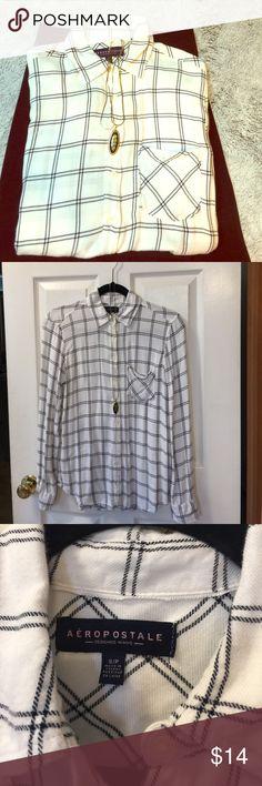 Women's shirt Plaid women's shirt. Black and white. Aeropostale Tops Button Down Shirts