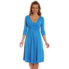Women's High Waist  3/4 Sleeve V-Neck Bodycon Dress(More Colors) – USD $ 19.99
