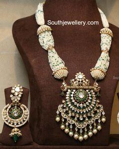Pearls Mala with Polki Pendant photo
