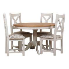 Debenhams Oak and painted 'Wadebridge' round table and set of 4 chairs with printed script fabric seats- at Debenhams.com