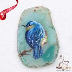 Hand Painted Bird Agate Slice Gemstone Necklace Pendant Jewlery D1706 0971 #ZL #Pendant