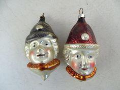 Antique Glass Christmas Ornament Figural Copper Police Head Face Set x2 Vintage