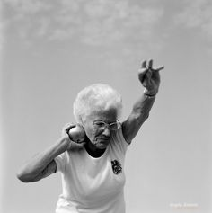 87-year-old senior athlete Elfriede Fuchs, of Judenburg, Austria, is photographed competing in the 85-89 age bracket women's shot put during the 2007 World Masters Championships.