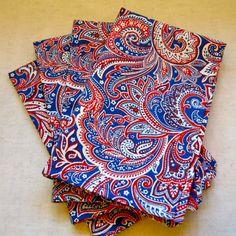 Patriotic Paisley Cloth Napkins Set of 4 by TraditionallyUnique, $26.00