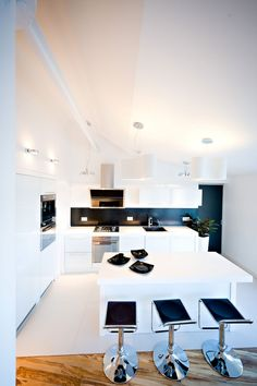 Kitchen : Black Adjustable Barstools In Loft Minibar Apartment Also White Kitchen Island With White Base Cabinets With Oven And Stve And Black Color Backspalsh Besides White Wall Decoration Kitchen Decoration Modern Kitchen Decoration for Home Part 3 Room Designs. Kitchen Cabinets. Kitchen Island.