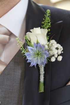 The Groom's Boutonniere featured an Akito Rose with Nigella, Thalaspi and Gypsophilia would want copper wire instead Prom Flowers, Blue Wedding Flowers, Bridal Flowers, Flower Bouquet Wedding, Floral Wedding, Wedding Colors, Wedding Ideas, Blue Corsage, Corsage And Boutonniere