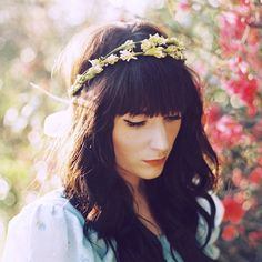 Trendy Flowers In Hair Hippie Fairies Floral Crowns 19 Ideas Fairy Wedding Dress, Wedding Dresses With Flowers, Flowers In Hair, Hair Wedding, Flower Hair, Wedding Nails, Dried Flowers, Crown Hairstyles, Hairstyles With Bangs