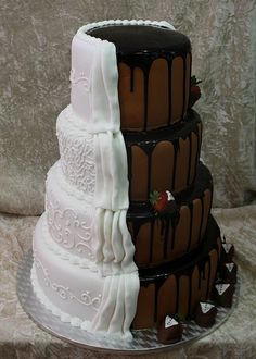 Bride and Groom Cake, white and chocolate!