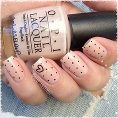 Simple by cute. Nude nail with polka dots. Come by VSpa Dallas to get your next manicure. https://www.vspadallas.com #vspa #dallas
