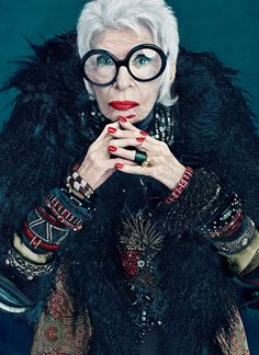 "Iris Apfel reminds me of my Beloved Grandma who is also ""the grand dame of accessories"" -in the family.   Miss you Lola :("