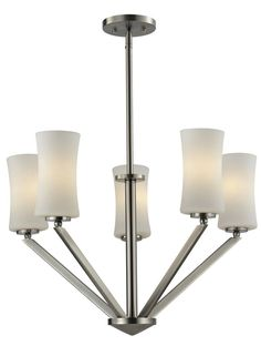 Z-Lite 609-5-BN Elite 5 Light Chandelier In Brushed Nickel With Matte Opal Shade is made by the brand Z-Lite Lighting and is a member of the Elite collection. It has a part number of 609-5-BN.