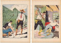 Art.FOUR Vintage book pages;French retro.paris.colourful.thirties.home deco.cowboys,indians,spy.kitchen.nursery.children.boys.original.paper by JackieBassettArt on Etsy