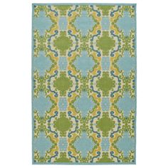 Indoor/Outdoor Luka Blue Damask Rug (2'1 x 4'0) - Overstock Shopping - Great Deals on Accent Rugs
