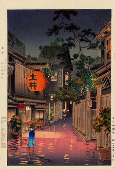 土屋光逸 Tsuchiya Hikarii (1870-1949) 牛込神楽坂  Ushigome Kagurazaka, 1939