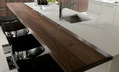 Contemporary Walnut Island Bar Top Countertop by Grothouse - contemporary - kitchen countertops - new york - The Grothouse Lumber Company