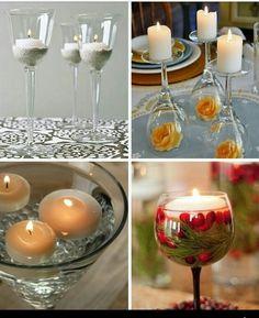 Weingläser,Blumen und Kerzen