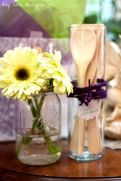 Flowers in Mason Jars and Bundled Wooden Utensils as Favors and Decor  for Vintage Housewife Bridal Shower   Hey Love Designs