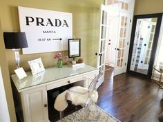 My new office! Ghost chair, Prada marfa, French doors <3