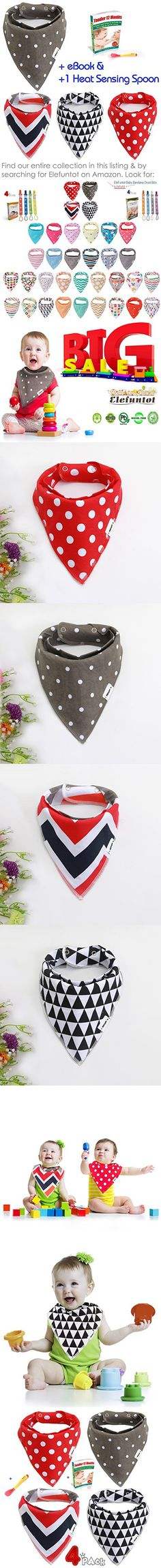 4 Baby Bandana Drool Bibs by Elefuntot, with Heat-Sensing SPOON & 2 YKK Snaps, Cute & Stylish, Functional absorbent & Safe on your Baby, Made of 100% Organic Cotton, Unisex, Makes a Great Shower Gift