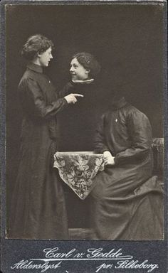 ca. 1860-1900s, cabinet card collage of a women holding the held head of another woman