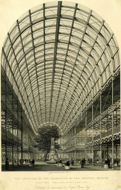 Recto Interior of the Crystal Palace in Hyde Park, erected to house the Great Exhibition of a fountain and tall tree in transept with galleries on either side; visitors in space. 1851 Steel engraving © The Trustees of the British Museum Amazing Architecture, Art And Architecture, Exhibition Building, Palace London, Glass Structure, Victorian London, Industrial Architecture, Industrial Revolution, Crystal Palace