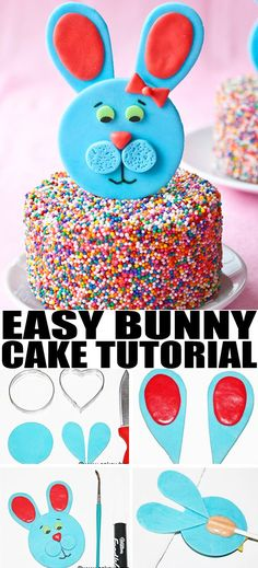 Use this cake decorating tutorial to make a quick and easy EASTER BUNNY CAKE topper, using fondant. Simple way to decorate cakes and cupcakes for Easter parties! From cakewhiz.com #easter #easterbunny #cake #cakedecorating #cakedesign #caketopper #partyfood #dessert #dessertrecipes #kidsparty #howto #fondant #fondantcake