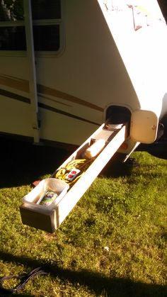 RV.Net Open Roads Forum: Hybrid Travel Trailers: Show your mods!! A homemade sliding drawer makes a skinny, unusable pass-through area much more useful.