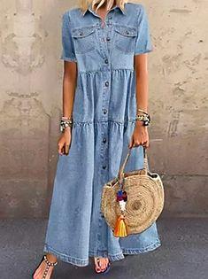 Γυναικεία Φόρεμα ριχτό Φόρεμα μέχρι το γόνατο - Μισό μανίκι Φλοράλ Στάμπα Καλοκαίρι Λαιμόκοψη V Καθημερινό καυτό φορέματα διακοπών Φαρδιά 2020 Θαλασσί M L XL XXL 3XL 2020 - € 16.9 Short Sleeve Denim Dress, Denim Maxi Dress, Half Sleeve Dresses, Knee Length Dresses, Dresses With Sleeves, Denim Summer Dresses, Denim Shorts, Short Sleeves, Long Sleeve