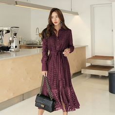 3aedd0bbdf8 Spring Hollow-out Lace Women Long Dress with Belt Single Breasted Elegant  Mermaid Female Dress