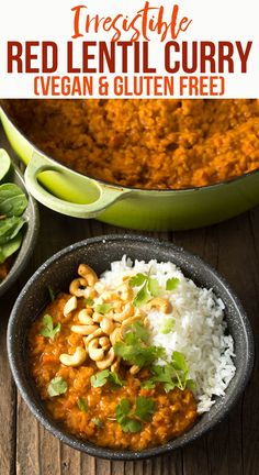 Indian Vegetarian Recipes 109775309656201269 - Irresistible Red Lentil Curry Recipe: A creamy Thai Red Curry made with red lentils. This healthy one-pot dish is gluten free, vegan and delicious! Source by shwetaindkitchn Red Curry Lentils, Thai Red Curry, Chicken Lentil Curry, Indian Lentil Curry, Slow Cooker Lentil Curry, Sweet Potato Lentil Curry, Coconut Lentil Curry, Red Thai, Easy Soup Recipes