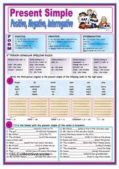 This is a two-page thorough worksheet to practise present simple tense. It contains explanation and exercises on third person singular spelling rules, positive, negative and interrogative forms of the present simple. - ESL worksheets