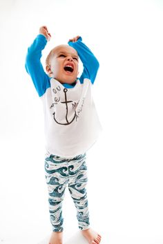 Organic Cotton Wave baby leggings. Super soft. Unisex baby clothing. Handmade. Made in USA. Carolina Keiki. Duck,NC