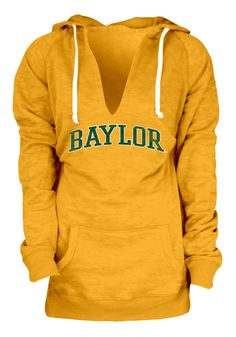 Baylor Bears Hoodie - Womens Gold Burnout Fleece Pullover Hooded Sweatshirt, TOP SELLER!