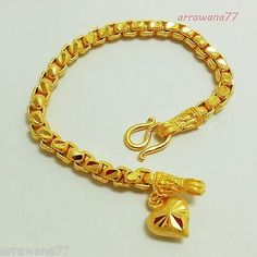 Lovely Chain Thai Baht Yellow Gold Plated Bracelet Heart Jewelry 7 inch For Grad Gold Chain Design, Gold Bangles Design, Gold Earrings Designs, Bracelet Designs, Mens Gold Bracelets, Kids Bracelets, Bangle Bracelets, Solid Gold Bangle, Ethiopian Jewelry