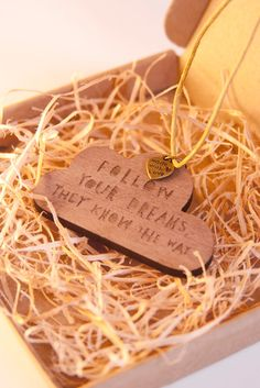 FOLLOW YOUR DREAMS - Wooden Necklace with Bronze Detail