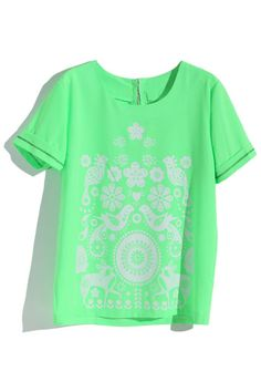 Bright Green Symmetric Bird And Floral T-shirt #ROMWE