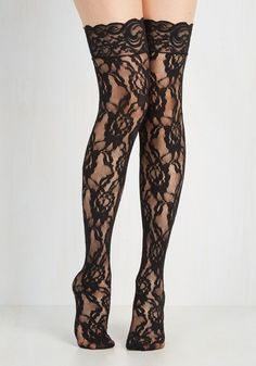 Calze autoreggenti nere in pizzo Cottelli Collection Hold Up Stockings Black