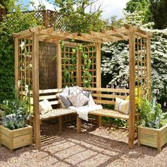 Forest Sorrento Corner Arbor Seat - elbec garden buildings While age-old within principle, the pergola Diy Pergola, Corner Pergola, Pergola With Roof, Cheap Pergola, Outdoor Pergola, Pergola Shade, Outdoor Decor, Pergola Kits, Pergola Ideas