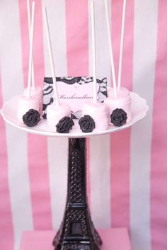 Pretty pink marshmallow pops at a Paris birthday party! See more party planning ideas at CatchMyParty.com!