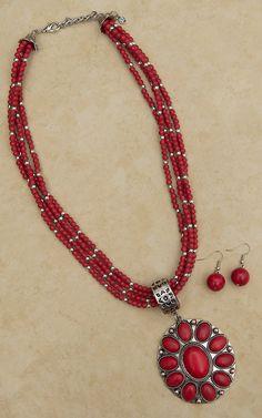 Blazin Roxx Red Concho Multi Strand Necklace & Earrings Jewelry Set 30472